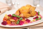 Baby chicken with potato-beetroot relish