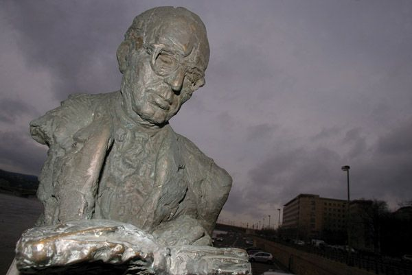 Above: 49 monuments have been put up in honour of the writer Albert Wass since the change of regime.  He died in 1998. Right: There are only four statues of the important political scientist István Bibó who personally saved Jews from deportation in 1944 and only just escaped execution for his involvement in the 1956 Uprising.