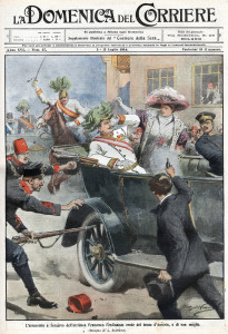 The assassination as illustrated by Achille Beltrame of the Italian newspaper Domenica del Corriere, 12 July 1914