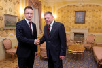 Péter Szijjártó's (left) first trip was to Slovakia, where he met Prime Minister Robert Fico