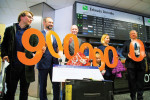 The nine millionth  passenger (left) arrived in mid-December