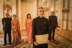 Ambassador Chhabra waiting to present his Letter of Credence, with his parents, wife and First Secretary