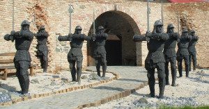 Statues of Black Army soldiers in Bikal