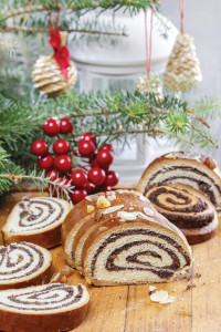 Poppy seed cake in christmas setting. Selective focus