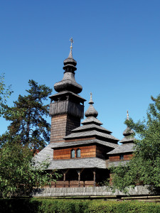 One of the wooden churches at the open-air Museum of Folk Architecture