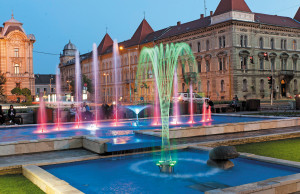 Renovated fountain in downtown Győr