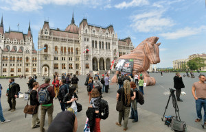 Anti-TTIP (Transatlantic Trade and Investment Partnership) demo in front of Parliament