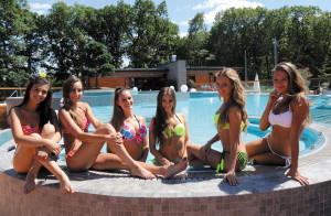 Six of the finalists of the Miss World Hungary Competition