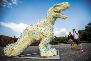 Dinosaur made of plastic bottles exhibited as part of the Contemporary Visual Arts Festival on 56-osok tere