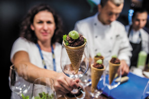 The Hungarian stand at the Gastronomika Congress offering black pudding ice-cream with apple jelly