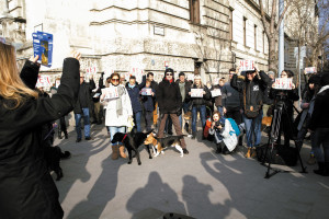 Dog owners demonstrate for stricter regulations at Parliament after a hunter accidentally shoots a dog in Budapest